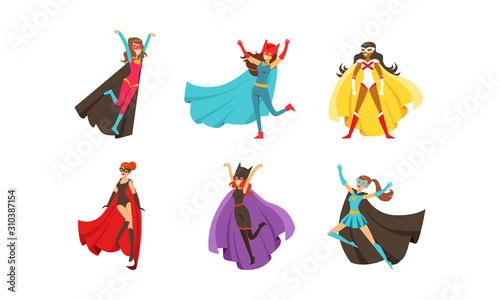 Leinwand Poster Superheroes Characters in Different Poses Vector Set