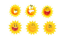 Cartoon Sun Expressing Differe...