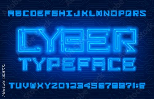 Obraz na plátně Cyber alphabet font
