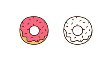 Delicious Doughnut Linear Vector Icon. Sweet Glazed Donut With Sprinkles Outline Illustration. Pastry Shop, Bakery, Confectionery Logotype Design Element. Tasty Baking Isolated On White Background.