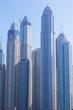 background, cityscape, view of the towers of the Dubai Marina area, in Dubai, United Arab Emirates