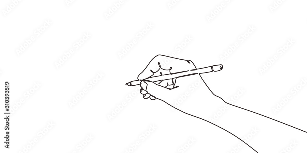Fototapeta continuous line drawing of hand drawing a line . vector illustration for banner, poster, web, template, business card.