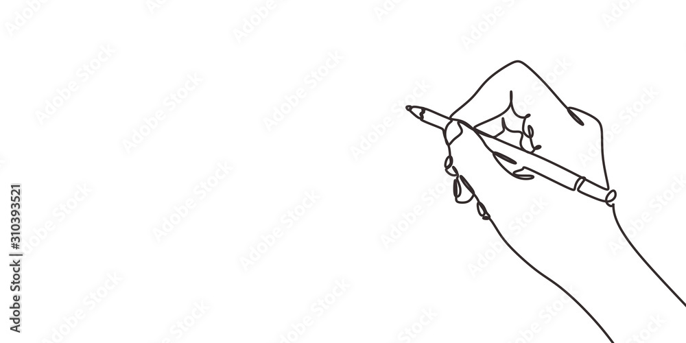 Fototapeta continuous line drawing of hand writing or drawings. vector illustration for banner, poster, web, template, business card. Minimalism design sketch lineart.