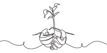 Continuous One Line Drawing Of Back To Nature Theme With Hands Holding A Plant. Concept Of Growing And Love Earth.