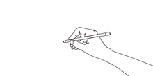 Continuous Line Drawing Of Hand Drawing A Line . Vector Illustration For Banner, Poster, Web, Template, Business Card.