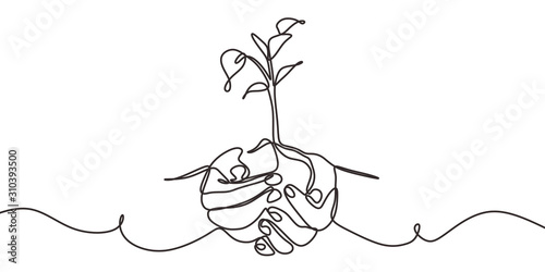 Stampa su Tela Continuous one line drawing of back to nature theme with hands holding a plant