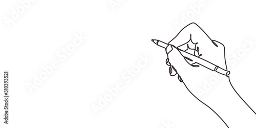 Fototapeta continuous line drawing of hand writing or drawings. vector illustration for banner, poster, web, template, business card. Minimalism design sketch lineart. obraz