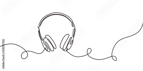 Fotografia one line drawing of headphone speaker device gadget continuous lineart design isolated on white background
