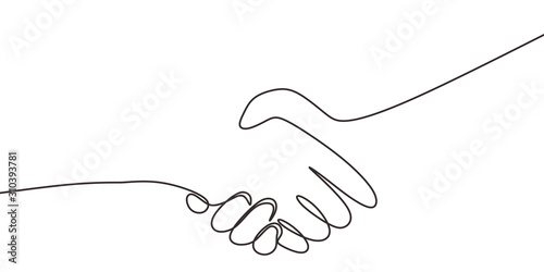 Fotomural One line drawing of shaking hands