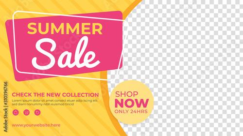 Fototapeta Summer sale banner template. Promotion sale banner for website, flyer and poster obraz