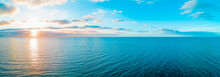 Scenic Sunset Over Sea - Aerial Panorama