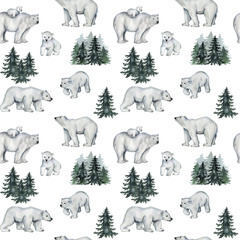 Watercolor seamless pattern with white polar bears