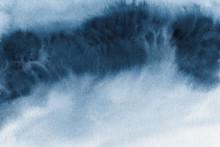 Abstract Indigo Blue Watercolo...