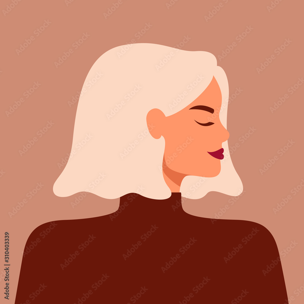 Fototapeta Portrait of a strong beautiful woman in profile with blond hair. Avatar of confident young caucasian girl. Vector illustration