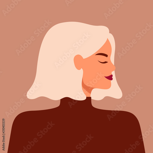 Portrait of a strong beautiful woman in profile with blond hair. Avatar of confident young caucasian girl. Vector illustration Fototapete