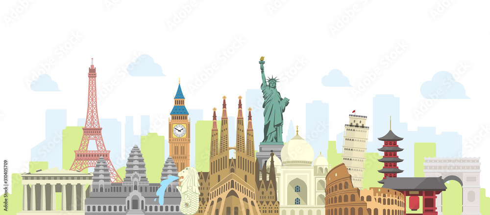 Fototapeta world travel vector banner  illustration ( world famous buildings / world heritage )