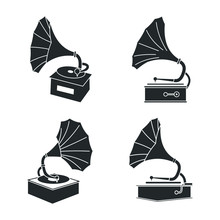 Retro Gramophone Icon Template...