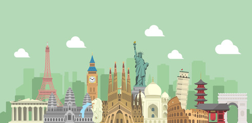 world travel vector banner  illustration ( world famous buildings / world her...