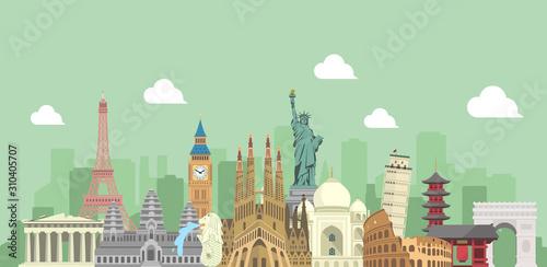 Fototapeta world travel vector banner  illustration ( world famous buildings / world heritage )  obraz