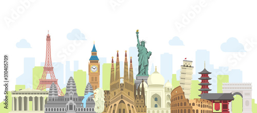 Leinwand Poster world travel vector banner  illustration ( world famous buildings / world herita