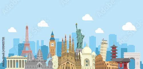 Obraz world travel vector banner  illustration ( world famous buildings / world heritage )  - fototapety do salonu