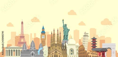 Fototapety, obrazy: world travel vector banner  illustration ( world famous buildings / world heritage )