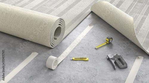 Obraz Process of laying cozy beige carpet on floor, 3d illustration - fototapety do salonu