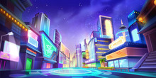 Night City Illustration. Fantasy Urban Backdrop. Concept Art. Realistic Illustration. Video Game Digital CG Artwork Background. Street Scenery.