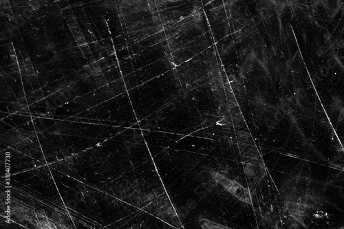white scratches on a black background. Tablou Canvas