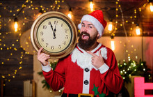 Almost Midnight. Make Wish. Santa Claus Hold Vintage Clock. Time To Celebrate. Merry Christmas. Bearded Man Informing Time. Time For Winter Party. Get Ready. Few Minutes Left. New Year Countdown