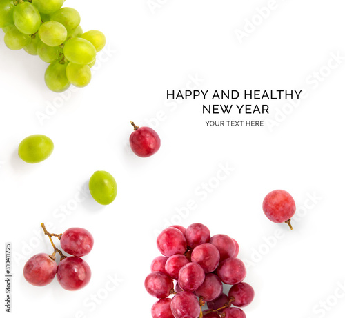 Valokuvatapetti Creative happy and healthy new year card made of grapes on the white background