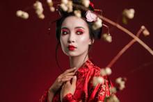 Image Of Geisha Woman In Traditional Japanese Kimono With Sakura Tree