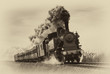 Leinwandbild Motiv Vintage steam train. Old photo filter applied.