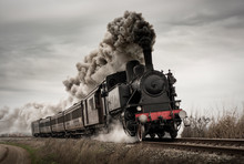 Vintage Steam Train With Ancie...