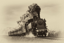 Vintage Steam Train. Old Photo...