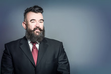 Adult Bearded Man In A Suit Wi...