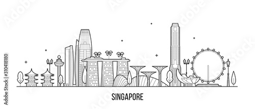 Photo Singapore skyline city buildings vector inear art