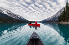 Traveler Canoeing On Maligne L...