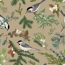 Floral Seamless Pattern With Birds.