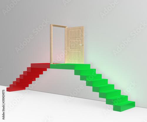 Photo Grüne Treppe für Aufstieg mit Tür und rote Treppe für Abstieg, freigestellt