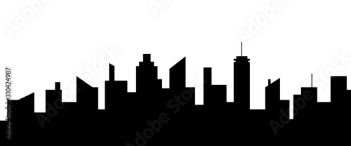 Modern city silhouette. Black and white vector illustration.