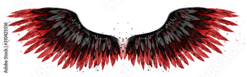Fotografia Beautiful black red watercolor wings