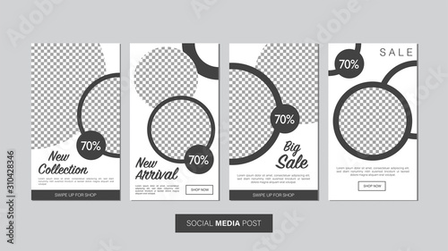 Sale mobile template collection for promotion sale with geometric style Canvas Print