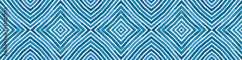 Blue Seamless Border Scroll. Geometric Watercolor Wallpaper Mural