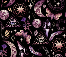 Magical And Mystical Characters. Stock Illustration With Moon Phases, Rose, Stars, Feather And Night Butterfly. Seamless Patterns