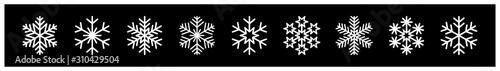 Fototapeta płatki śniegu zestaw ikon obraz