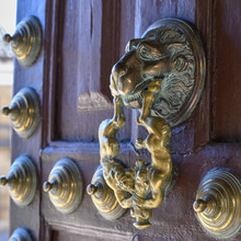 Close-up Of Brass Door Knocker...