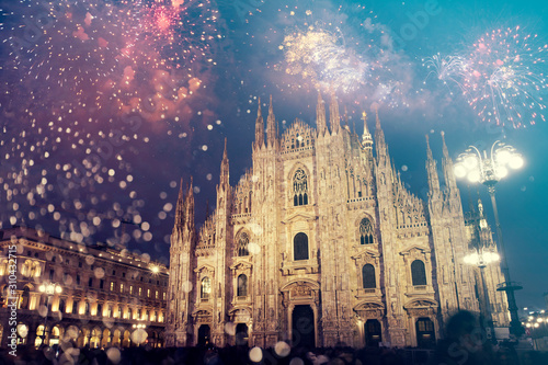 Celebrating the New Year in Milan with fireworks Fotobehang