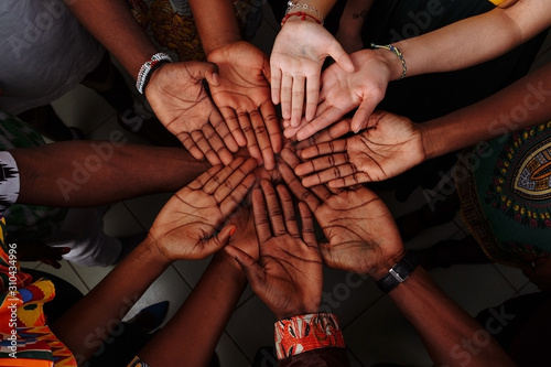 Vászonkép Palms up hands of happy group of multinational African, latin american and europ