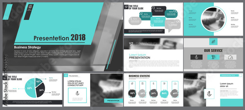 Grey, green and black infographic design elements for presentation slide templates Tablou Canvas